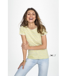 Tee-shirt femme col rond rayé SOL'S - 150g/m² - MILES WOMEN