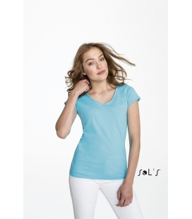 "Tee-shirt femme col ""v'' finitions bords francs roulottés SOL'S - 150g/m² - MILD"