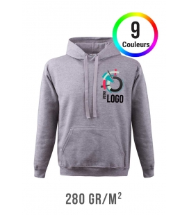 Sweat-shirt couleur à capuche - 280g/m²
