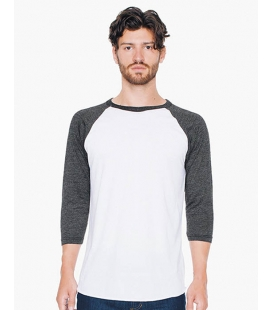 T-shirt unisexe manches raglan 3/4 Polv-Cotton 122 g/m - AMERICAN APPAREL